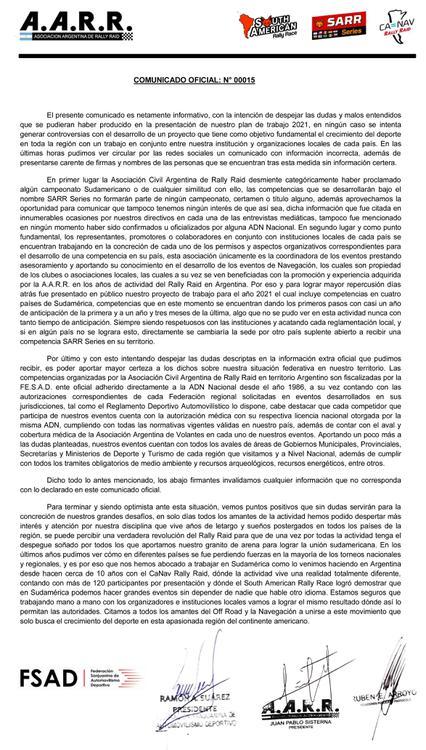 COMUNICADO OFICIAL AARR 22_08_20