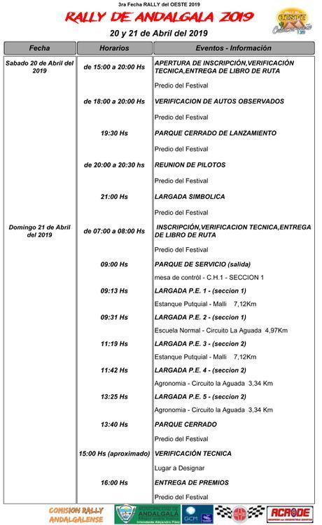 CRONOGRAMA RALLY DEL OESTE-ANDALGALA 2019-1